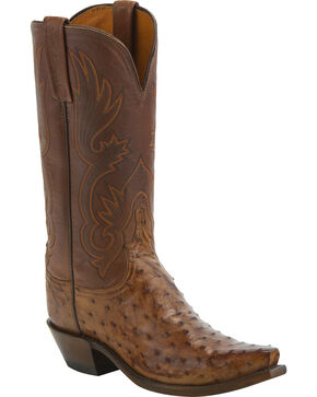 Lucchese Women's Dolly Full Quill Ostrich Western Boots - Snip Toe, Brown, hi-res