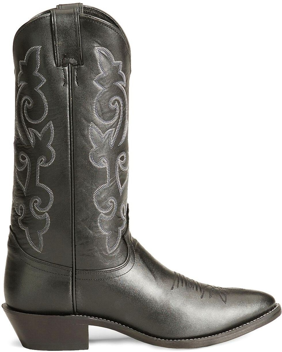Justin London Calfskin Cowboy Boots - Medium Toe, Black, hi-res