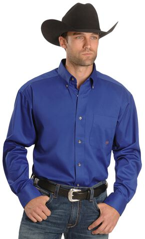 Ariat Blue Twill Oxford Shirt - Big & Tall, Blue, hi-res