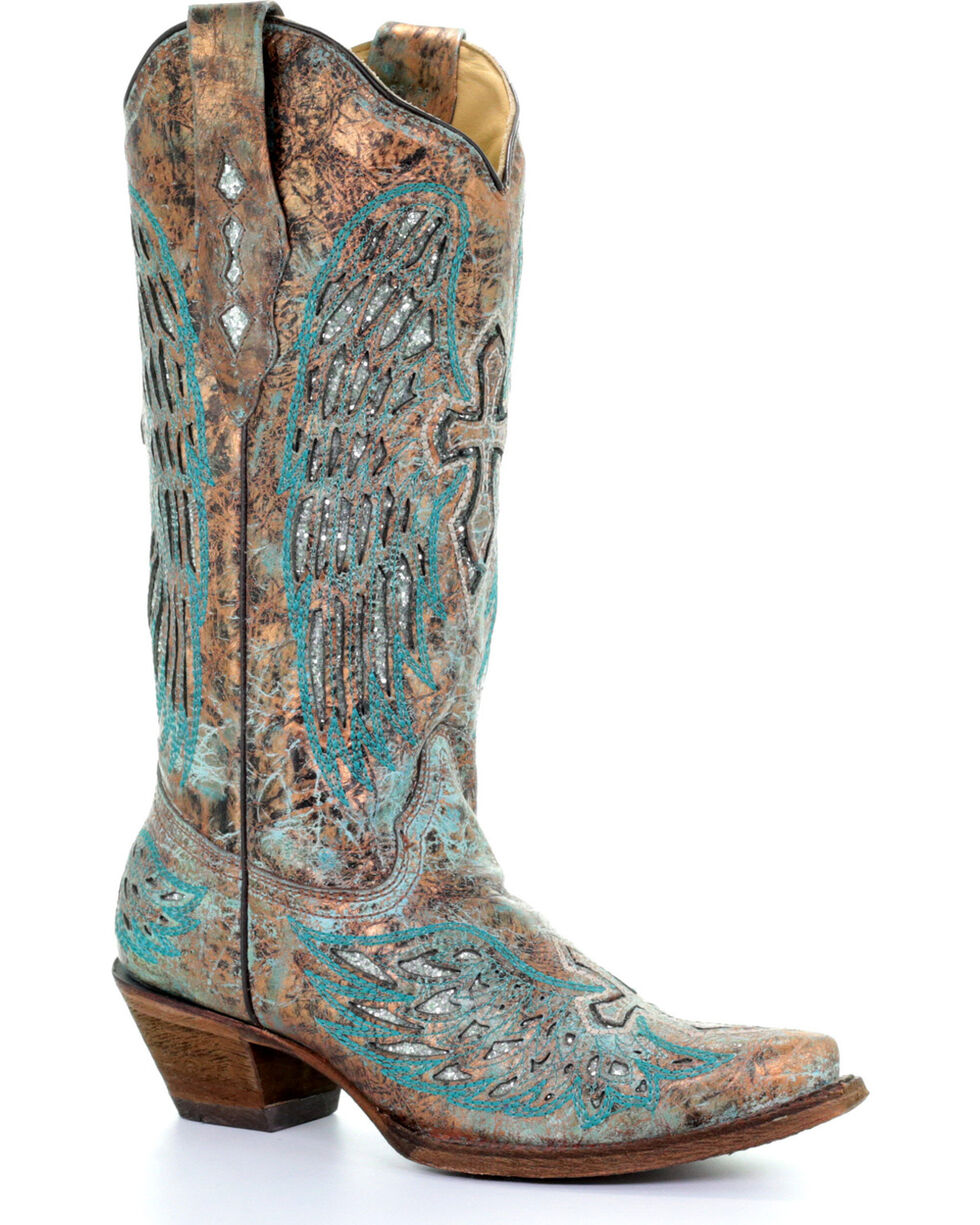 Corral Women's Turquoise Wing and Cross Cowgirl Boots - Snip Toe, Multi, hi-res