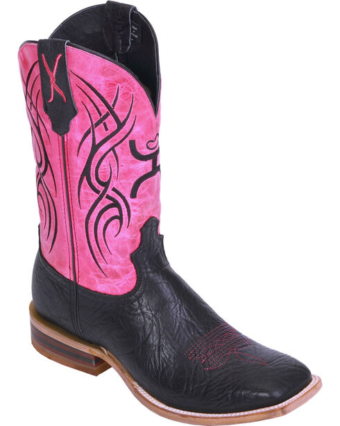 Hooey by Twisted X Neon Pink Cowgirl Boots - Wide Square Toe, Black, hi-res