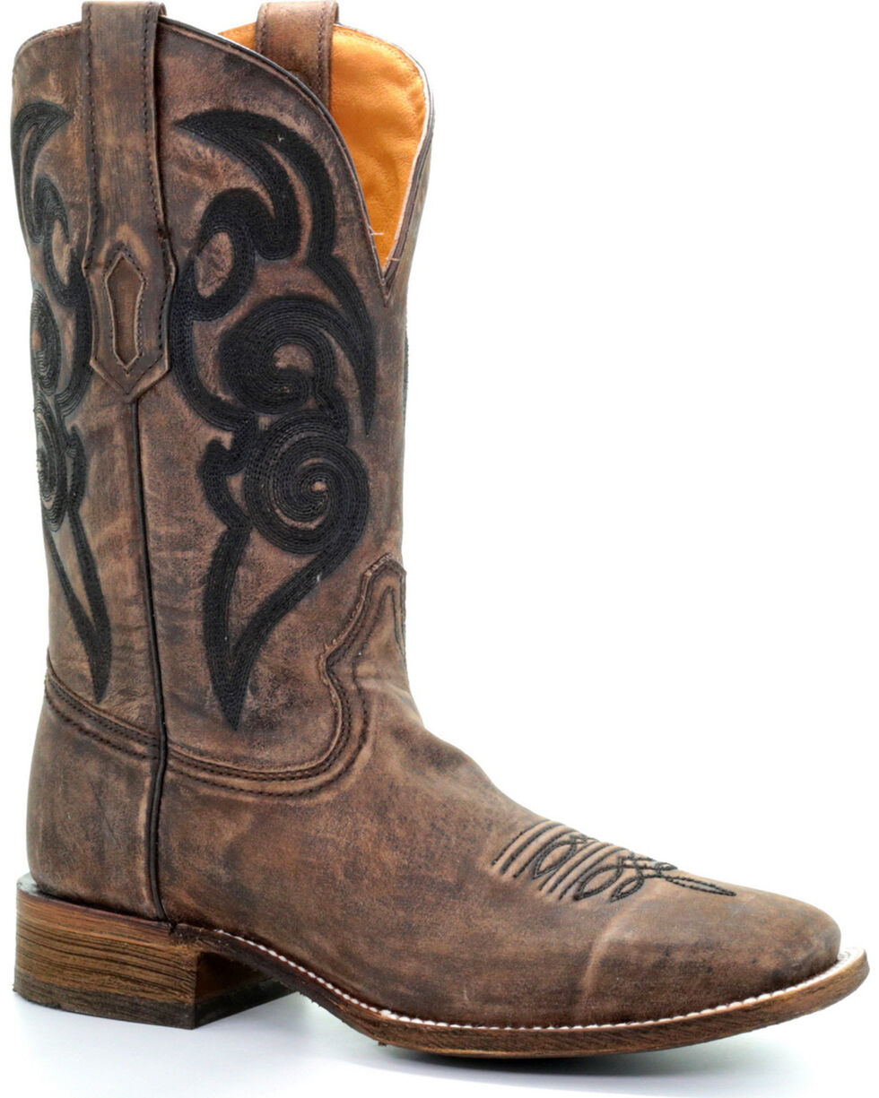 Corral Men's Brown Black Embroidery Cowboy Boots - Square Toe, Brown, hi-res