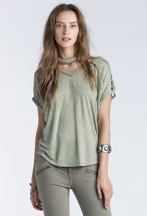 Miss Me Women's Olive Macrame Shoulder Detail Short Sleeve Shirt, Olive, hi-res