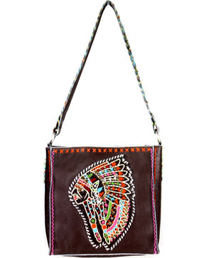 Montana West Women's Delila Leather Embroidered Indian Chief Tote Bag, Dark Brown, hi-res