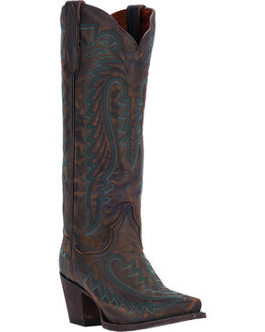 Dan Post Distressed Turquoise Cowgirl Boots - Snip Toe , Chocolate, hi-res
