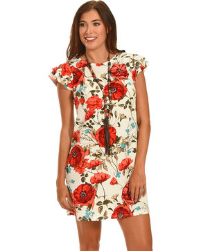 Ces Femme Red Poppy Print Cap Sleeve Dress , Red, hi-res