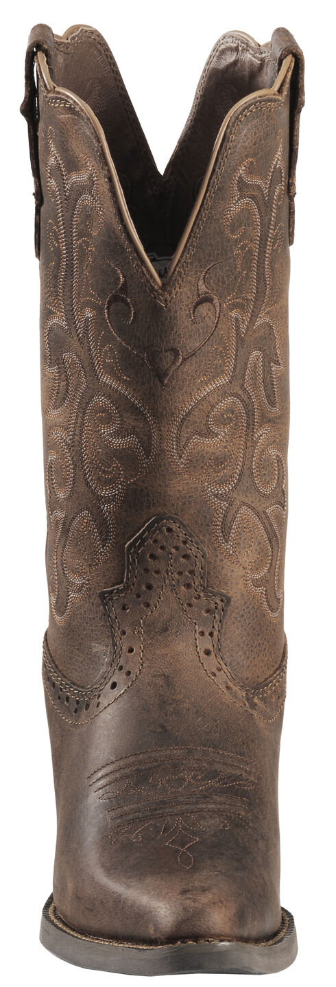 Justin Distressed Puma Cowhide Stampede Cowgirl Boots - Snip Toe, Tan, hi-res