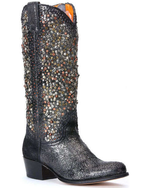Frye Women's Deborah Studded Tall Boots - Round Toe, Charcoal Grey, hi-res