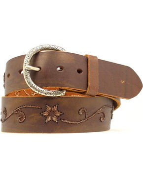Nocona Floral Scroll Embroidered Belt, Brown, hi-res