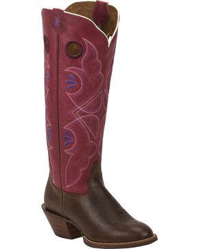 Tony Lama Tan Cuero 3R Buckaroo Cowgirl Boots - Round Toe , Chocolate, hi-res