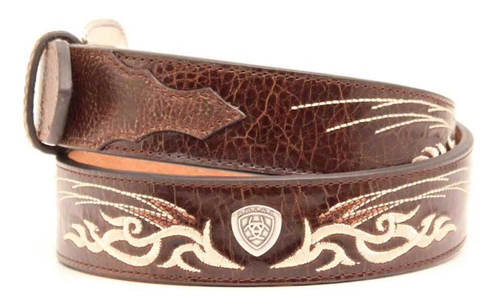 Ariat Bold Embroidered Belt, Brown, hi-res