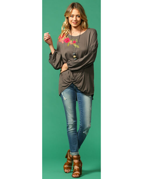 Ces Femme Women's Floral Applique Long Sleeve Knot Tee, Grey, hi-res