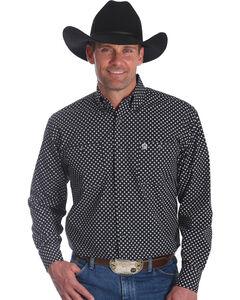 Wrangler Men's Black George Strait Button Down Print Shirt - Big & Tall , Black, hi-res