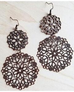 Jewelry Junkie Women's Copper Filigree Dangle Earrings , Rust Copper, hi-res