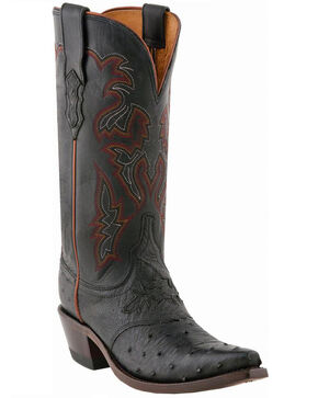 Lucchese Women's Handmade Augusta Full-Quill Ostrich Cowgirl Boots - Snip Toe, Black, hi-res