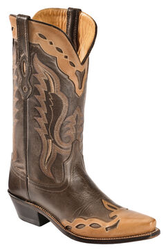 Old West Men's Brown Fashion Overlay Western Boots - Snip Toe , , hi-res