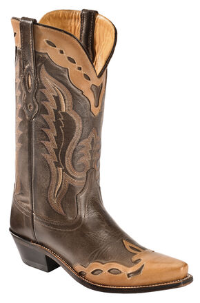 Old West Men's Brown Fashion Overlay Western Boots - Snip Toe , Brown, hi-res