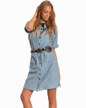 Polagram Women's Short Sleeve Denim Dress, Indigo, hi-res