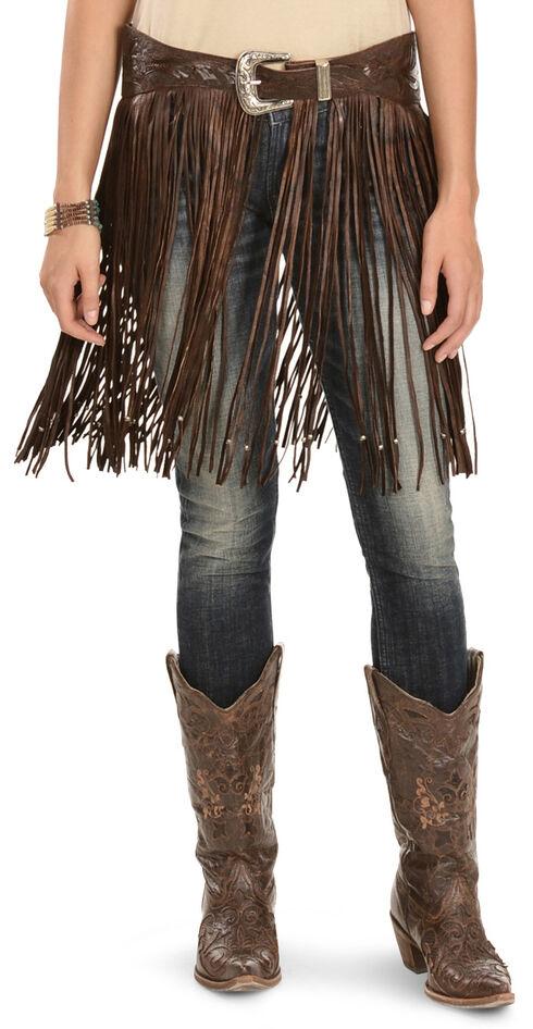 Kobler Leather Women's Hand-Tooled Beaded Fringe Belt, Brown, hi-res