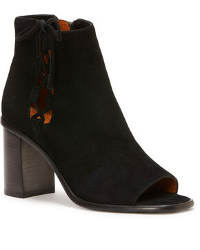 Frye Women's Black Amy Side Ghille Peep Toe Booties  , Black, hi-res