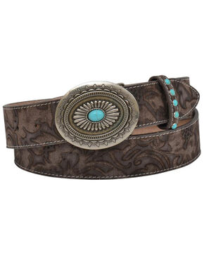 Angel Ranch Women's Tan Floral Print Leather Belt , Tan, hi-res
