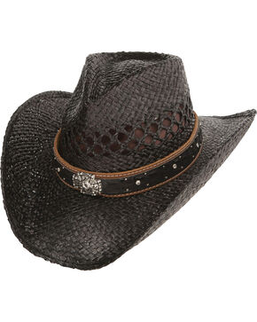 Charlie 1 Horse Durango Cowgirl Straw Hat, Black, hi-res