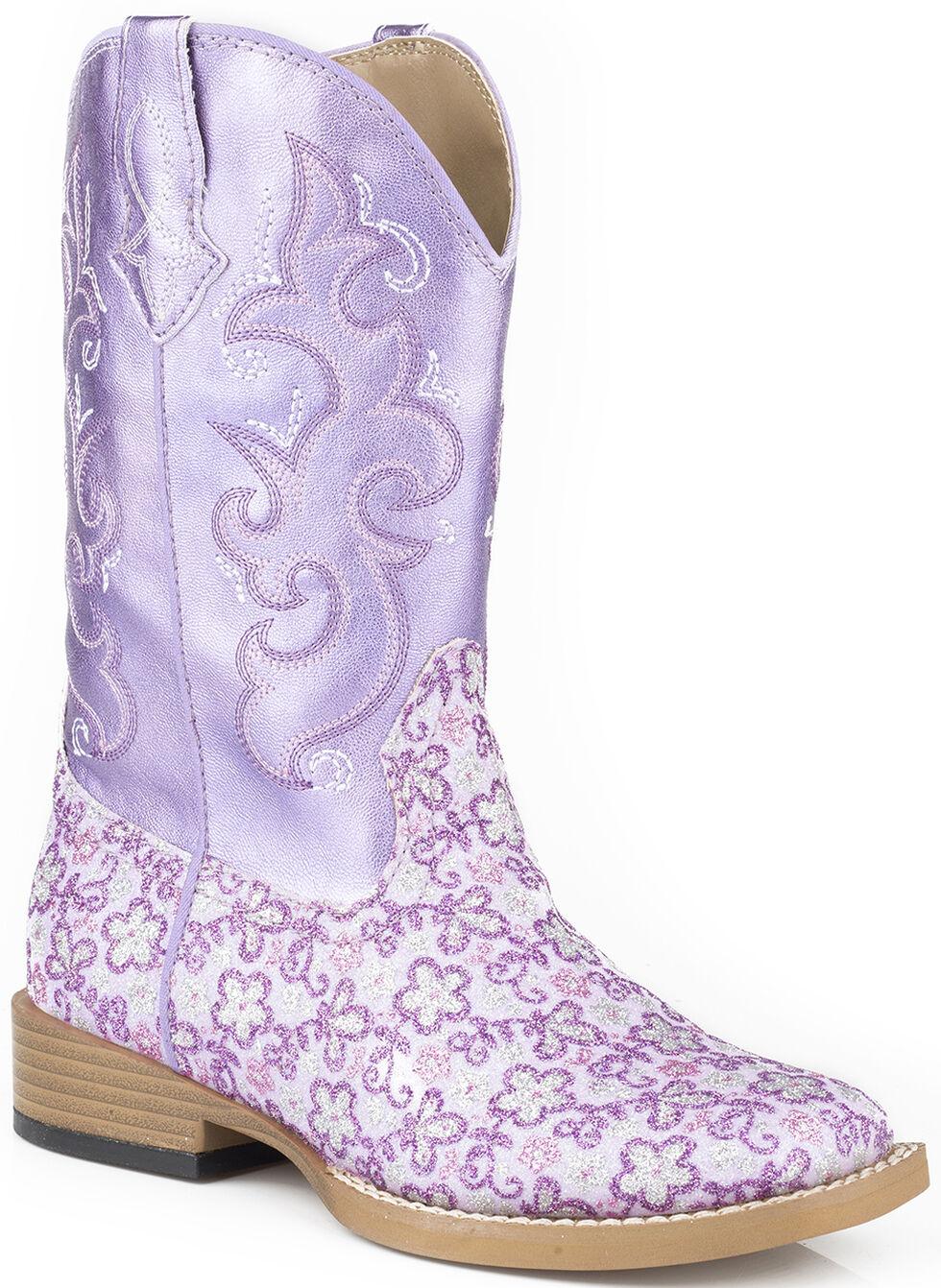 Roper Girls' Lavender Floral Glitter Cowgirl Boots - Square Toe , Purple, hi-res