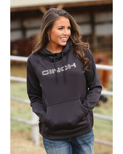 Cinch Women's Black Fleece Raglan Hoodie , Black, hi-res
