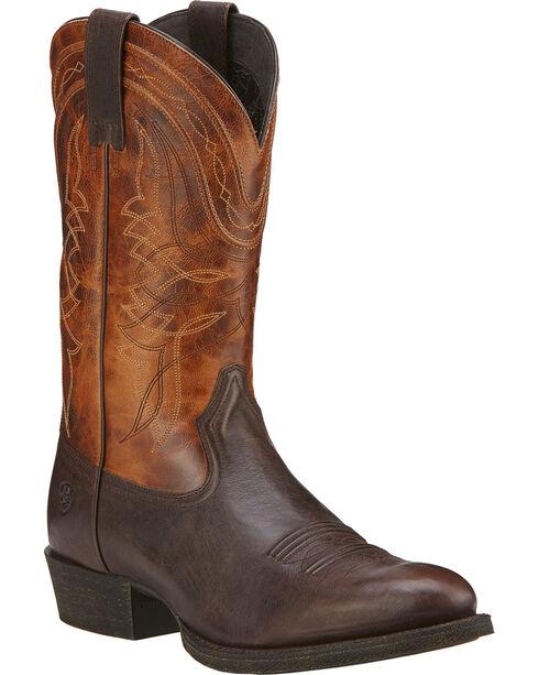 Ariat Comeback Cowboy Boots - Round Toe, Dark Brown, hi-res