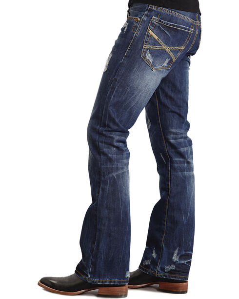 Stetson Rock Fit X Stitched Jeans - Big & Tall, Dark Stone, hi-res