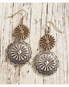 Shyanne Women's Floral Concho Dangle Earrings, Silver, hi-res