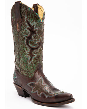 Corral Distressed Turquoise & Chocolate Overlay Cowgirl Boots - Snip Toe, Turquoise, hi-res