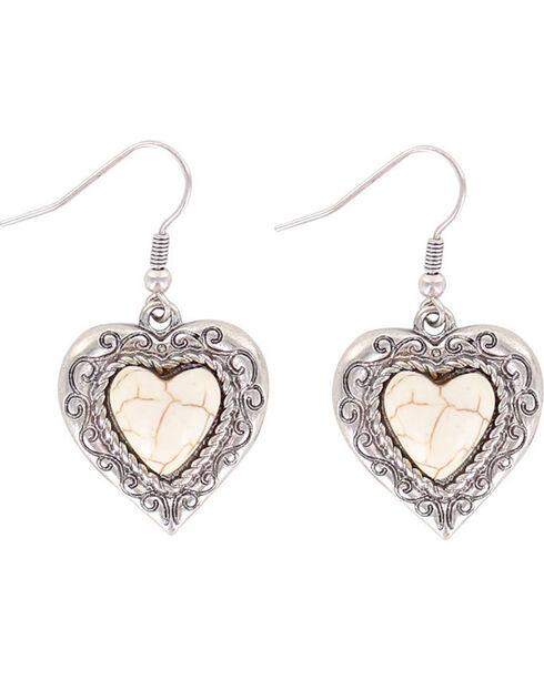 Shyanne Women's Heart Bone Earrings, Silver, hi-res
