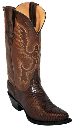 Ferrini Chocolate Lizard Cowgirl Boots - Snip Toe, , hi-res