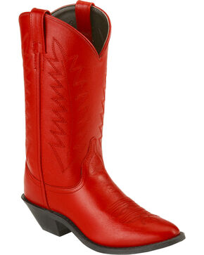 Old West Corona Cowgirl Boots - Medium Toe, Red, hi-res