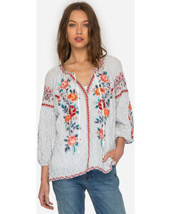 Johnny Was Women's Firenze Nadia Peasant Blouse , Blue, hi-res