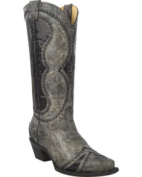 Corral Women's Diamond Inlay Cowgirl Boots - Snip Toe, Black, hi-res