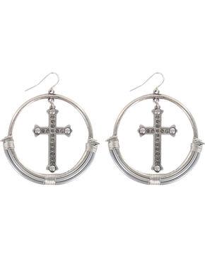 Shyanne Women's Rhinestone Cross and Hoop Earrings, Silver, hi-res