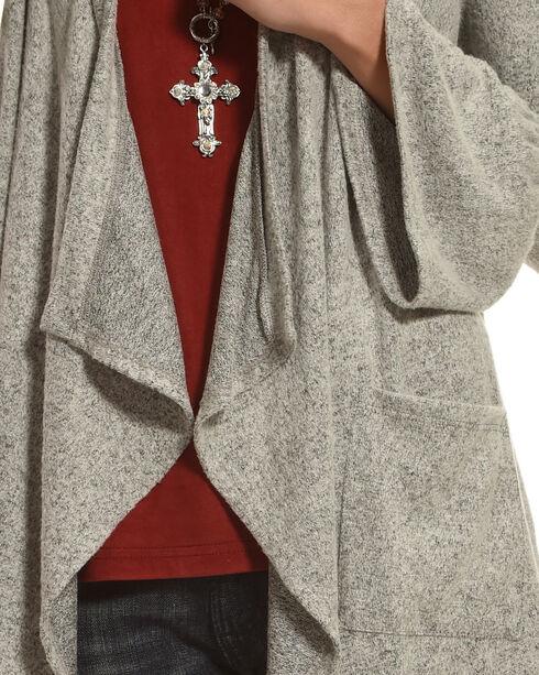 Moa Moa Heather Grey Brushed Knit Bell Sleeve Cardigan, Heather Grey, hi-res