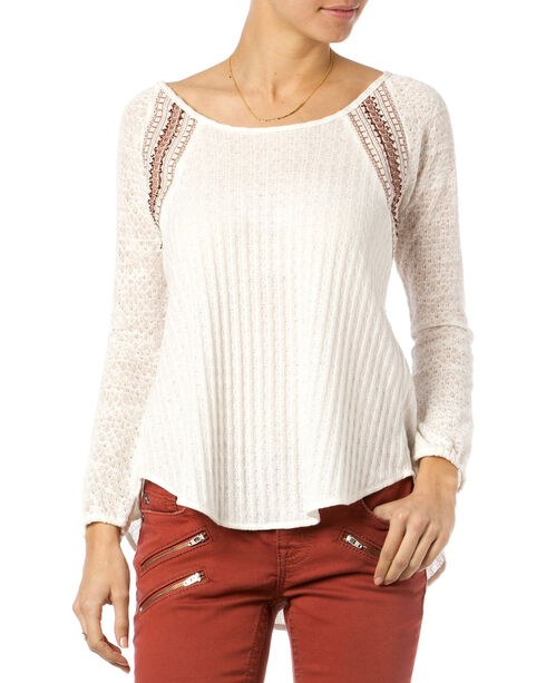 Miss Me Women's Mix-Matched Crochet Long Sleeve Top, White, hi-res