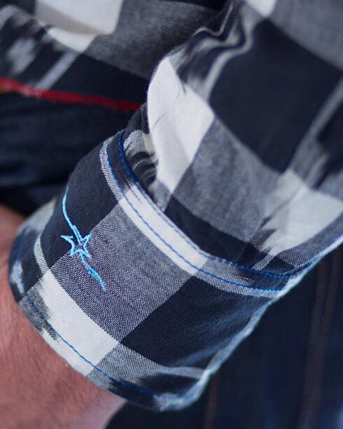 Ryan Michael Men's Black Ikat Gingham Plaid Shirt , Black, hi-res