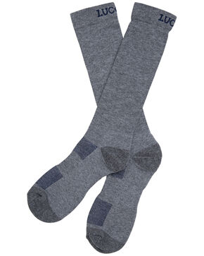 Lucchese Men's Grey Multi-Blend Socks , Grey, hi-res