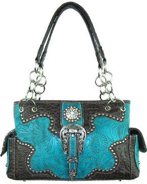 Savana Women's Turquoise Concealed Carry with Tooled Design Handbag, Turquoise, hi-res