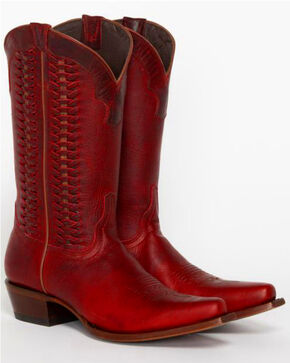 Shyanne Women's Leather Laced Western Boots - Snip Toe, Red, hi-res