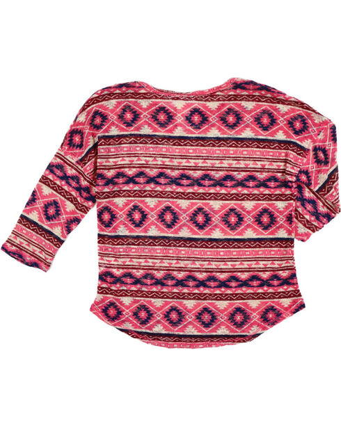 Shyanne Girls' Aztec Print Long Sleeve Shirt , Coral, hi-res