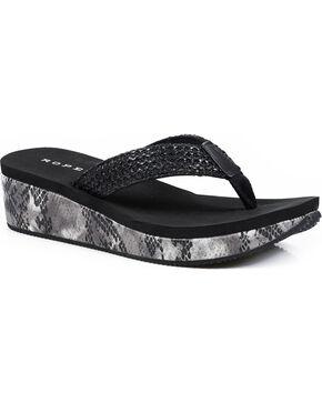 Roper Women's Black Snake Print Wedge Sandals , Black, hi-res