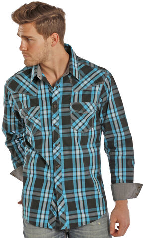 Rock and Roll Cowboy Turquoise and Black Plaid Western Snap Shirt  , Plaid, hi-res
