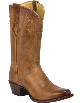 Tony Lama Burnished Tan Reno 100% Vaquero Cowgirl Boots - Square Toe, Tan, hi-res