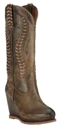 Ariat Dark Chocolate Nashville Wedge Cowgirl Boots - Round Toe , , hi-res