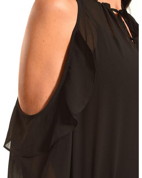 HYFVE Women's Cold Shoulder Ruffle Blouse, Black, hi-res